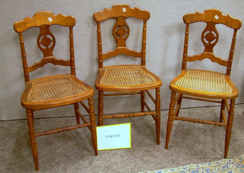Set of Six Renaissance Revival Caned Turned-Maple and Birds-eye Maple Veneer Dining Chairs.
