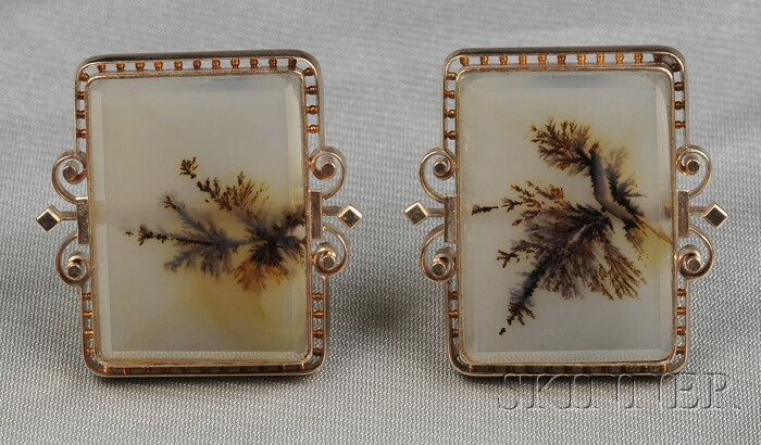 Antique 14kt Rose Gold and Moss Agate Cuff Links