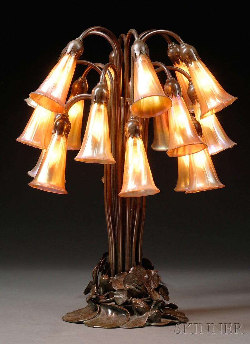 Buffalo Bronze Works Lily Table Lamp with Lundberg Shades