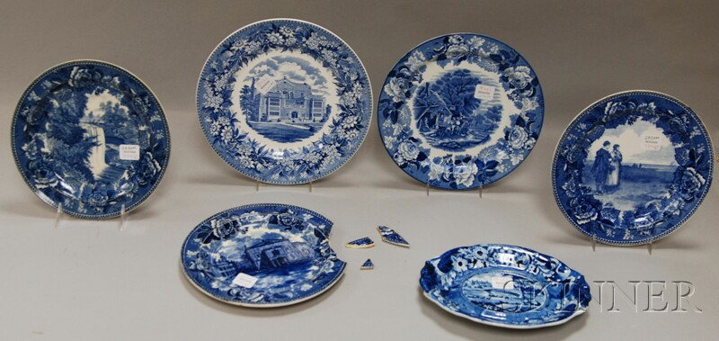 Six Blue Transfer-decorated Staffordshire Pottery Table Items
