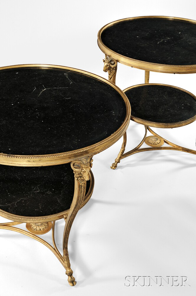 Pair of Louis XVI-style Gilt-bronze and Marble Gueridons