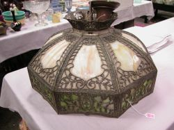 Gilt-metal Caramel and Green Slag Glass Seven-Panel Hanging Lamp.