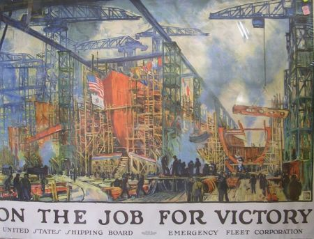 Jonas Lie On the Job for Victory   WWI Lithograph Poster