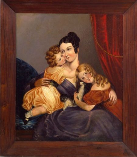 Chinese School, 19th Century    Portrait of a Mother and Her Two Children and Spaniel.