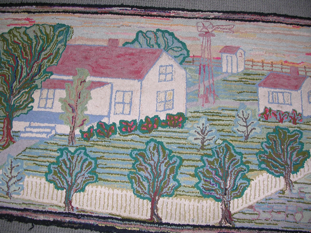 Landscape with Farm View Pictorial Hooked Rug and Grenfell Mat Depicting   a Dog Sled