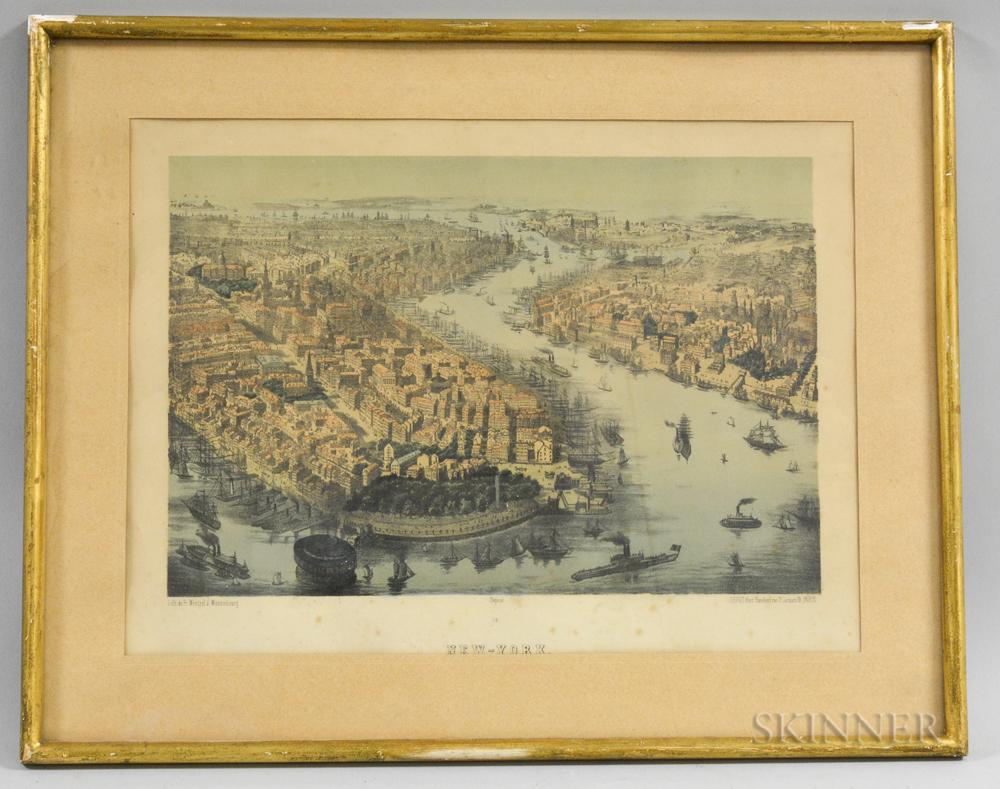 Framed German Franz Wentzel Hand-colored Lithograph of New York Harbor