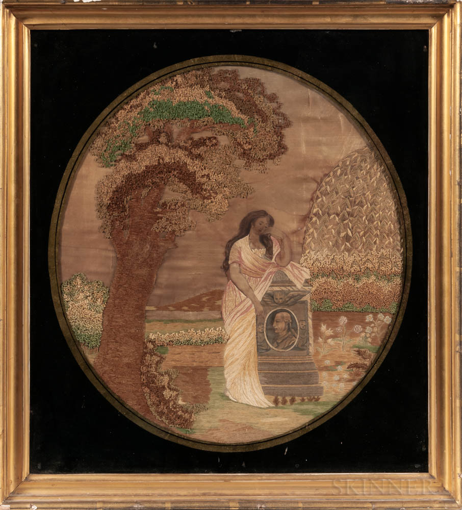 "Silk Needlework ""Virtue Weeping at the Tomb of Washington"" Memorial Picture"