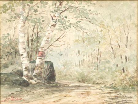 Louis Kinney Harlow (American, 1850-1930)    Birch-Lined Path