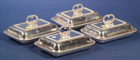 Suite of Four English Silver Plate Convertible Covered Entree Dishes