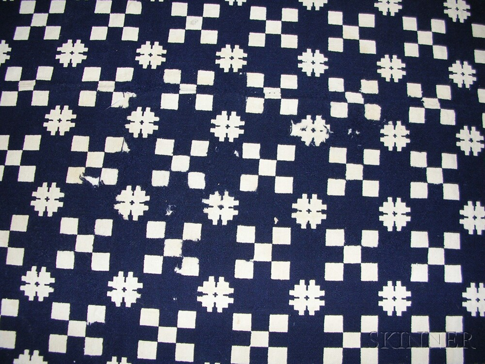 Three Woven Blue and White Wool and Cotton Coverlets and a Four-color   Wool and Cotton Coverlet