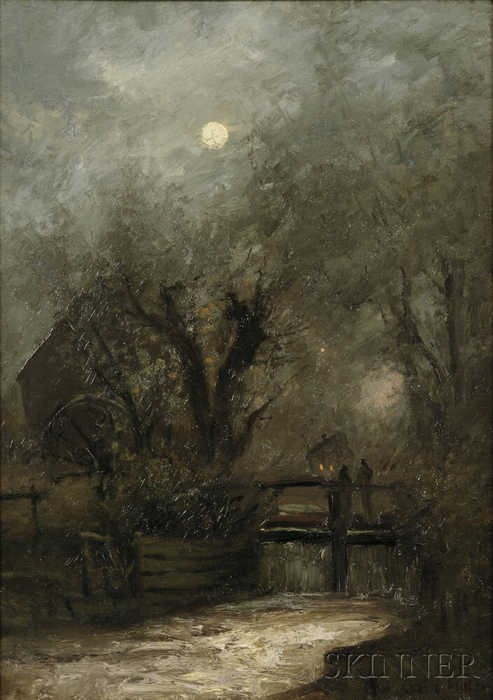 Charles Henry Miller (American, 1842-1922)      Old Mill in the Moonlight