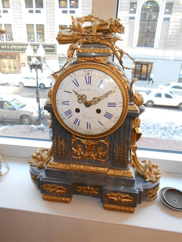 Louis XVI-style Three-piece Clock Garniture