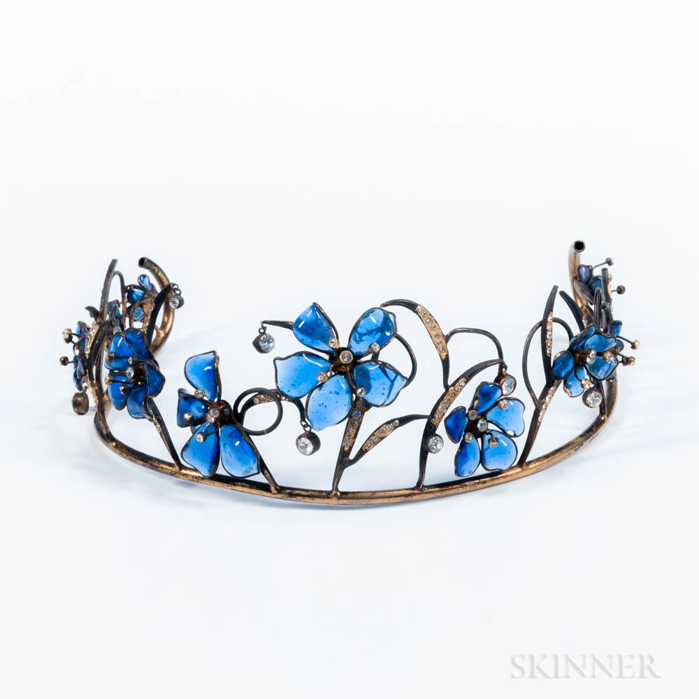 Blue Glass Flower and Rhinestone Tiara Attributed to Maison Gripoix