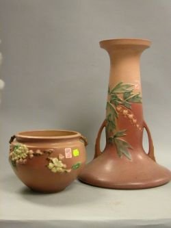 Roseville Pottery Apple Blossom Jardiniere and Bleeding Heart Pedestal.