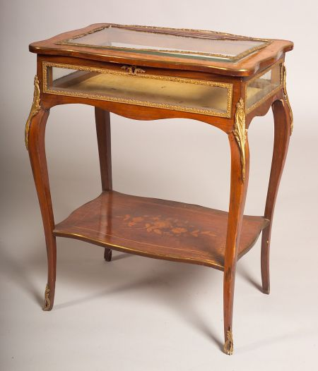 Rococo Revival Marquetry Inlaid Rosewood Vitrine Table