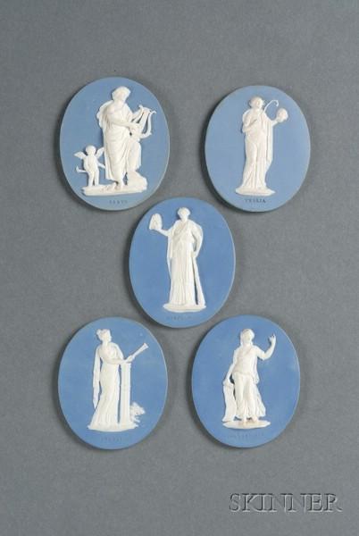 Five Wedgwood & Bentley Solid Blue Jasper Oval Medallions