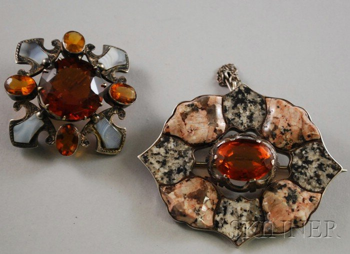 Two Silver-mounted Scottish Agate and Citrine Brooches
