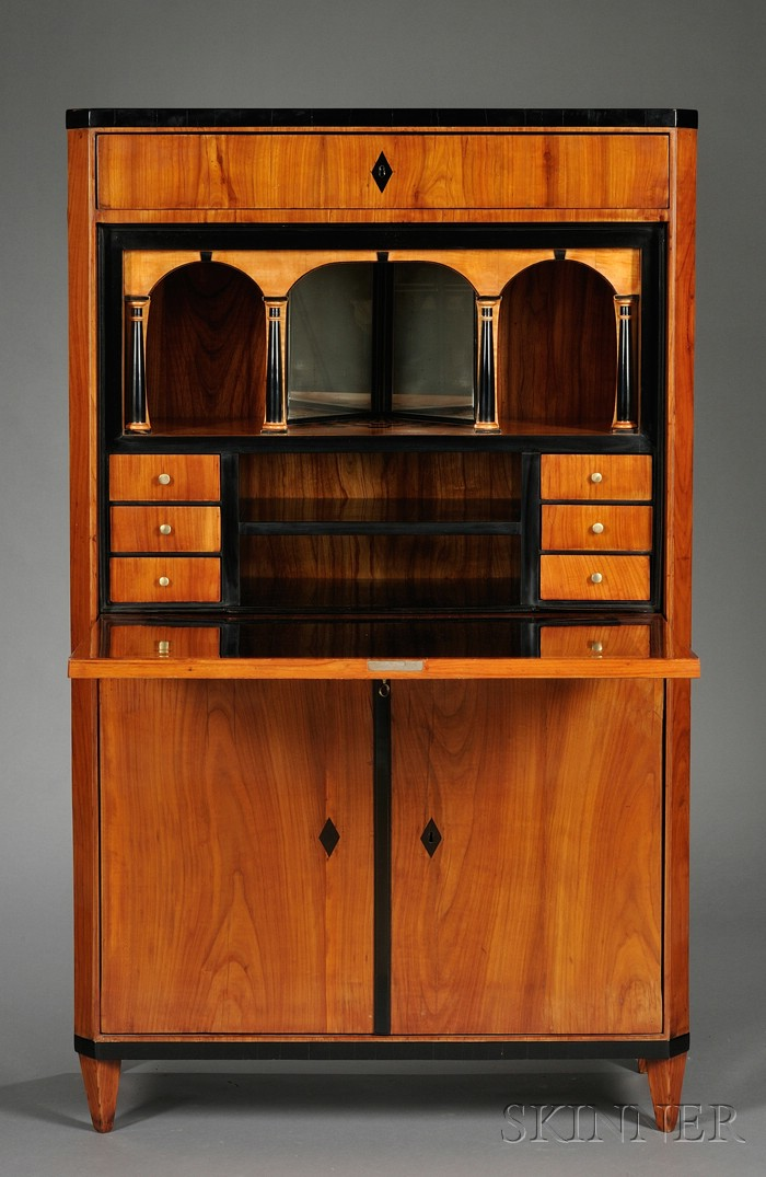 Biedermeier-style Ebonized and Inlaid Maple Fall-front Desk