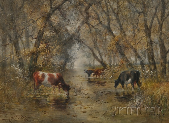 Hugo Anton Fisher (American, 1854-1916)      Cows Watering at a Shady Stream