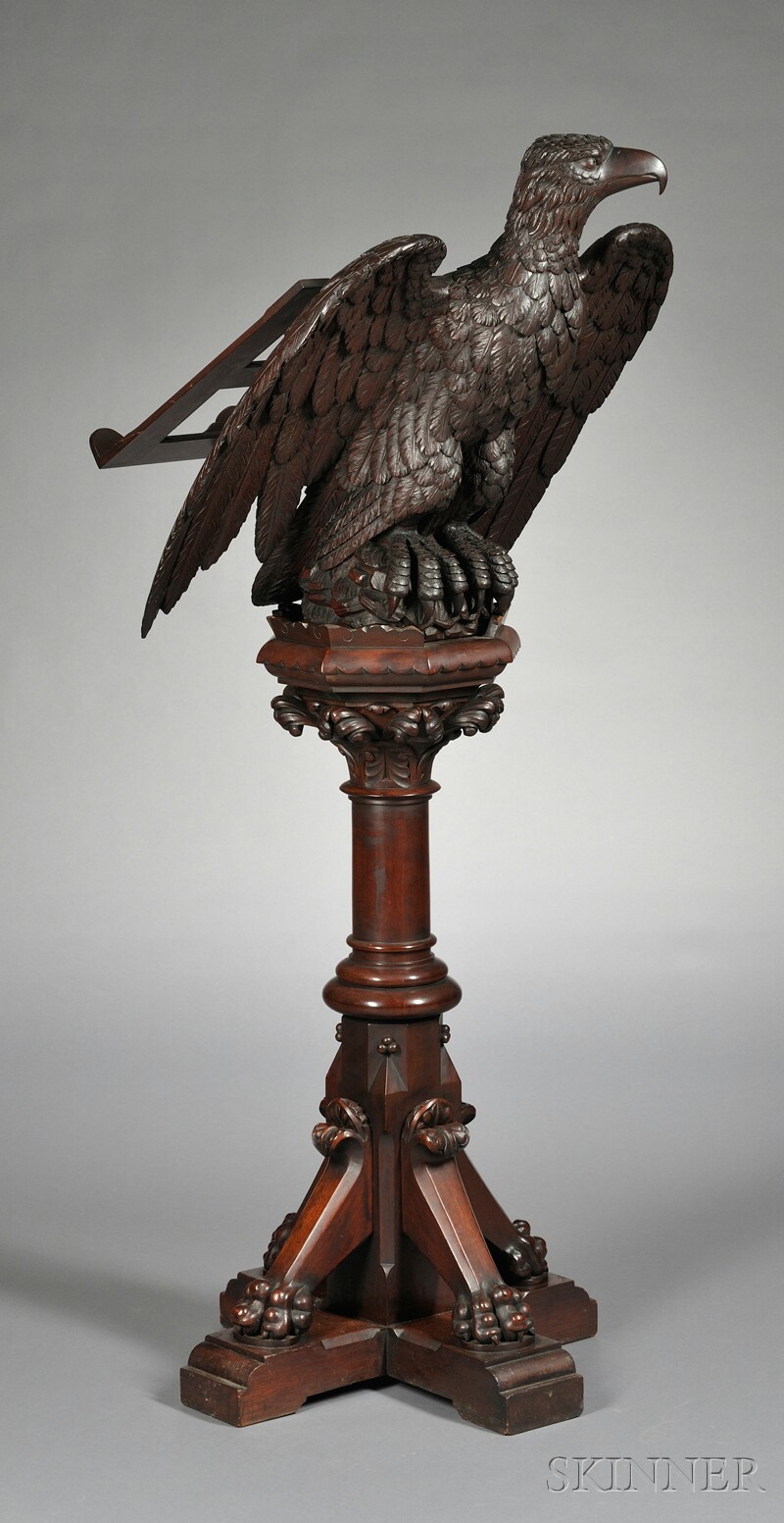 American Victorian Carved Walnut Lectern