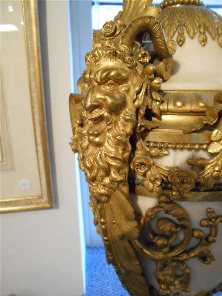 Pair of Louis XVI-style Ormolu-mounted Marble Urns