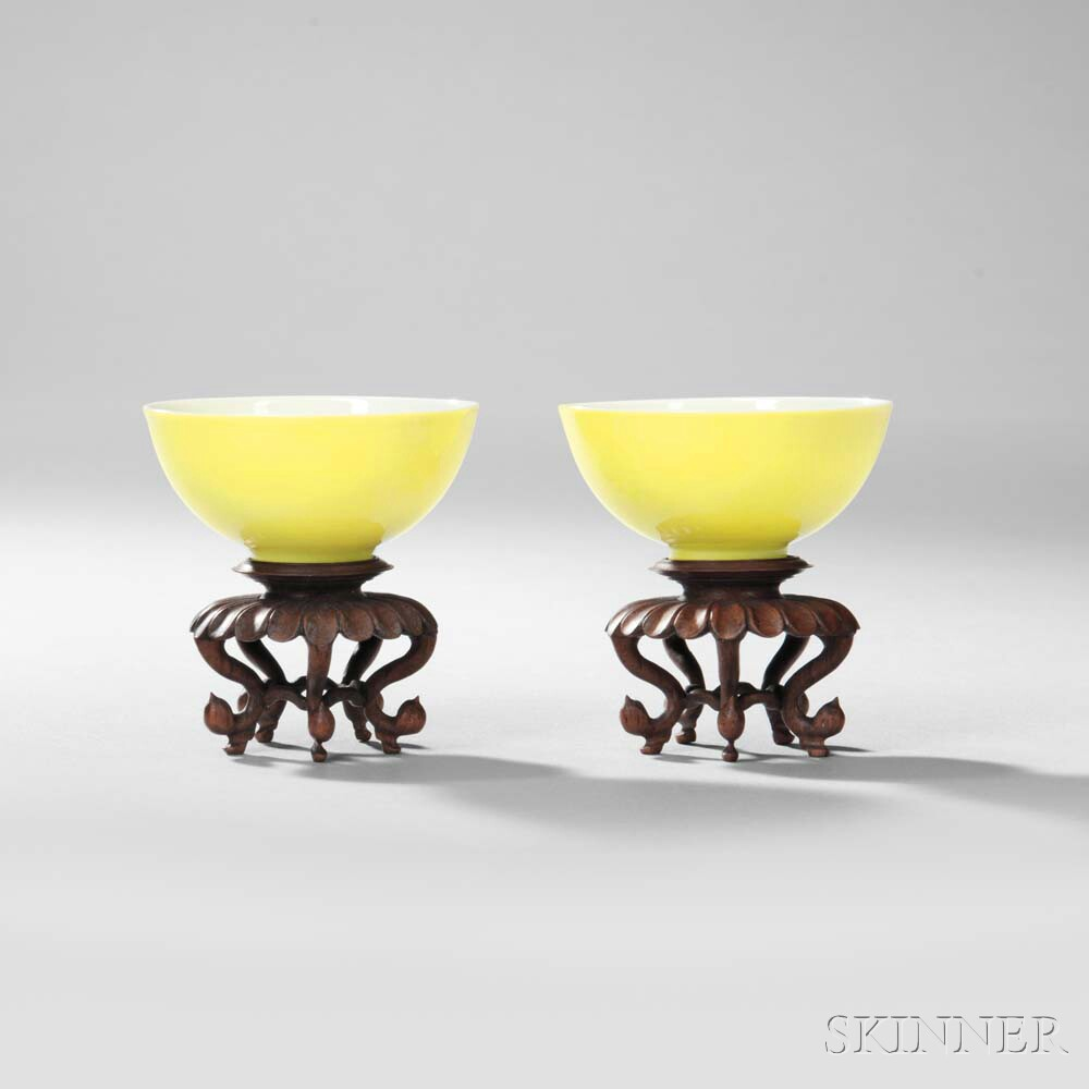 Rare Pair of Lemon Yellow-glazed Wine Cups