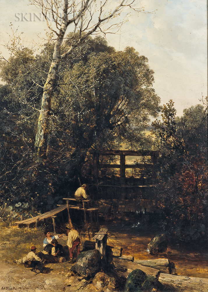 Pál (Paul) Böhm (Hungarian, 1839-1905)      Family at Rest by a Bridge and Stream