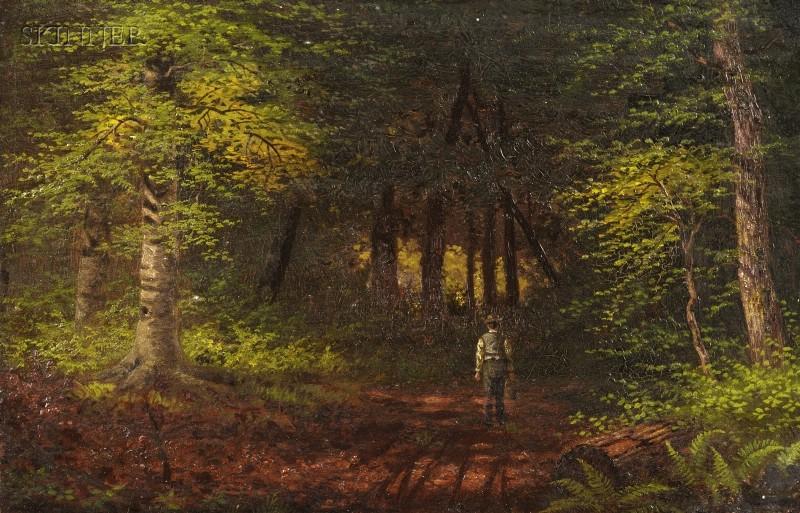 American School, 19th Century      Figure in the Woods