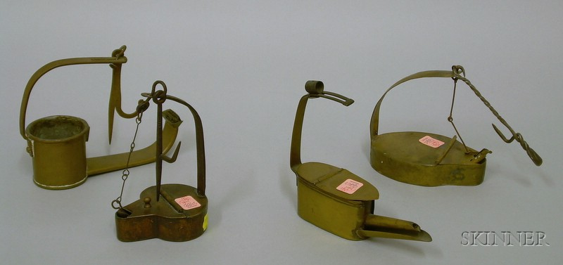 Four Early Copper and Brass Oil Lamps