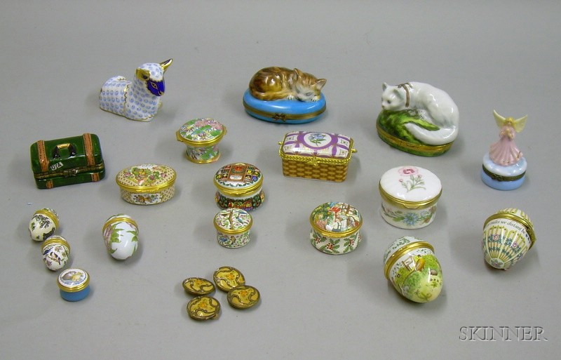 Collection of Halcyon Days Enamel Boxes and Assorted Porcelain Figural Boxes