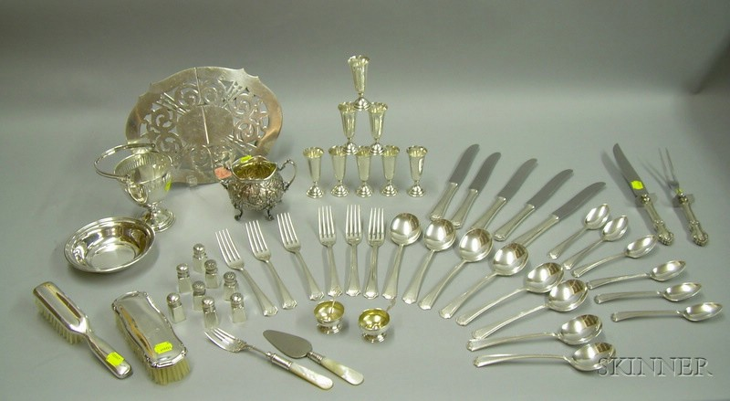 Group of Sterling and Silver Plated Tableware and Articles