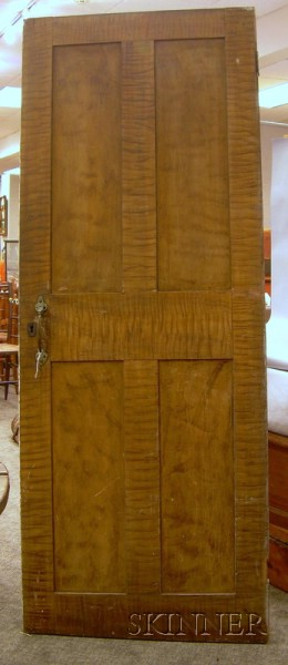 19th Century Faux Tiger and Bird's-eye Maple Grain-painted Paneled Wooden Door