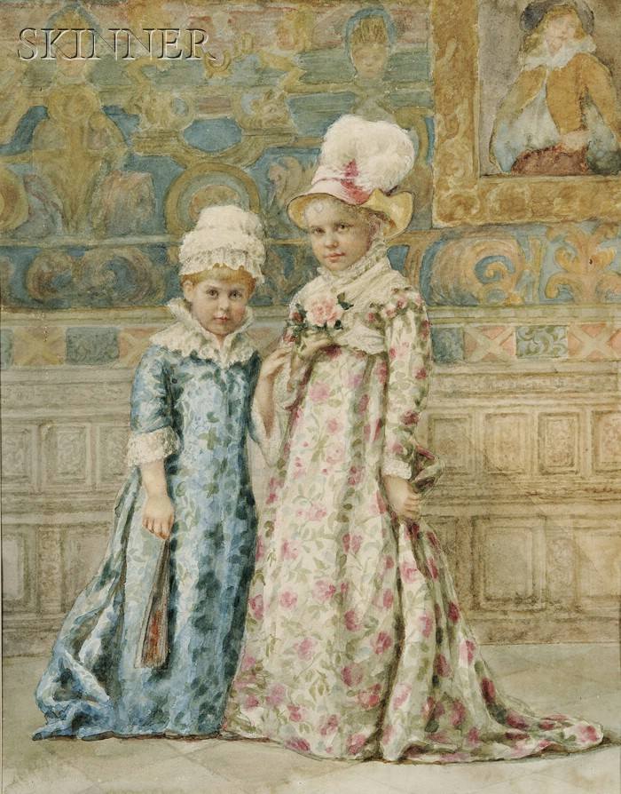 Continental School, 19th Century      Two Girls in Elaborate Dresses in an Interior