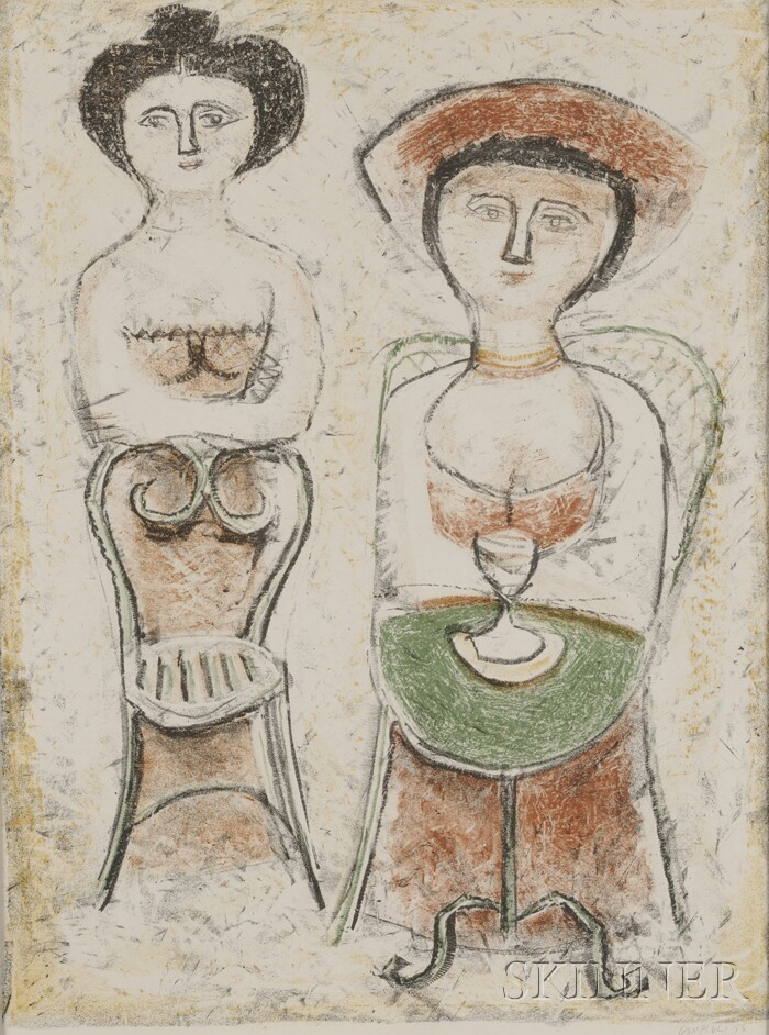 Massimo Campigli  (Italian, 1895-1971)      Two Women in a Cafe