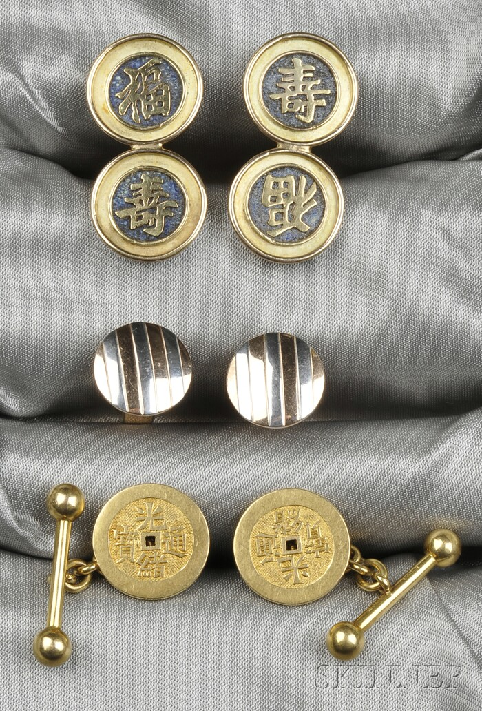 Three Pairs of Gentleman's Cuff Links