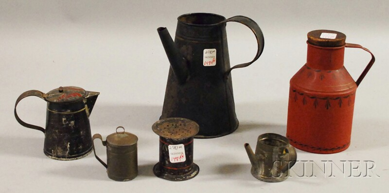 Six Mostly Paint-decorated Tinware Items