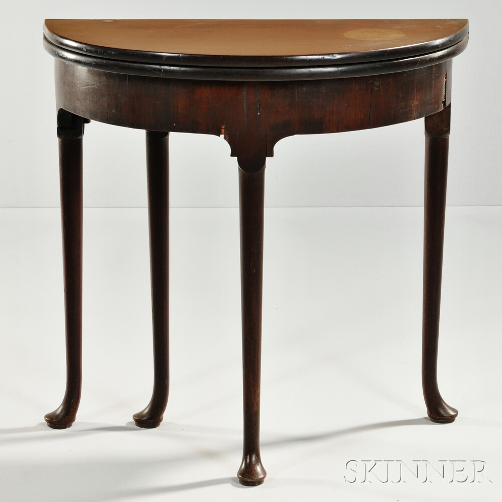 George II Mahogany Veneer Demilune Card Table