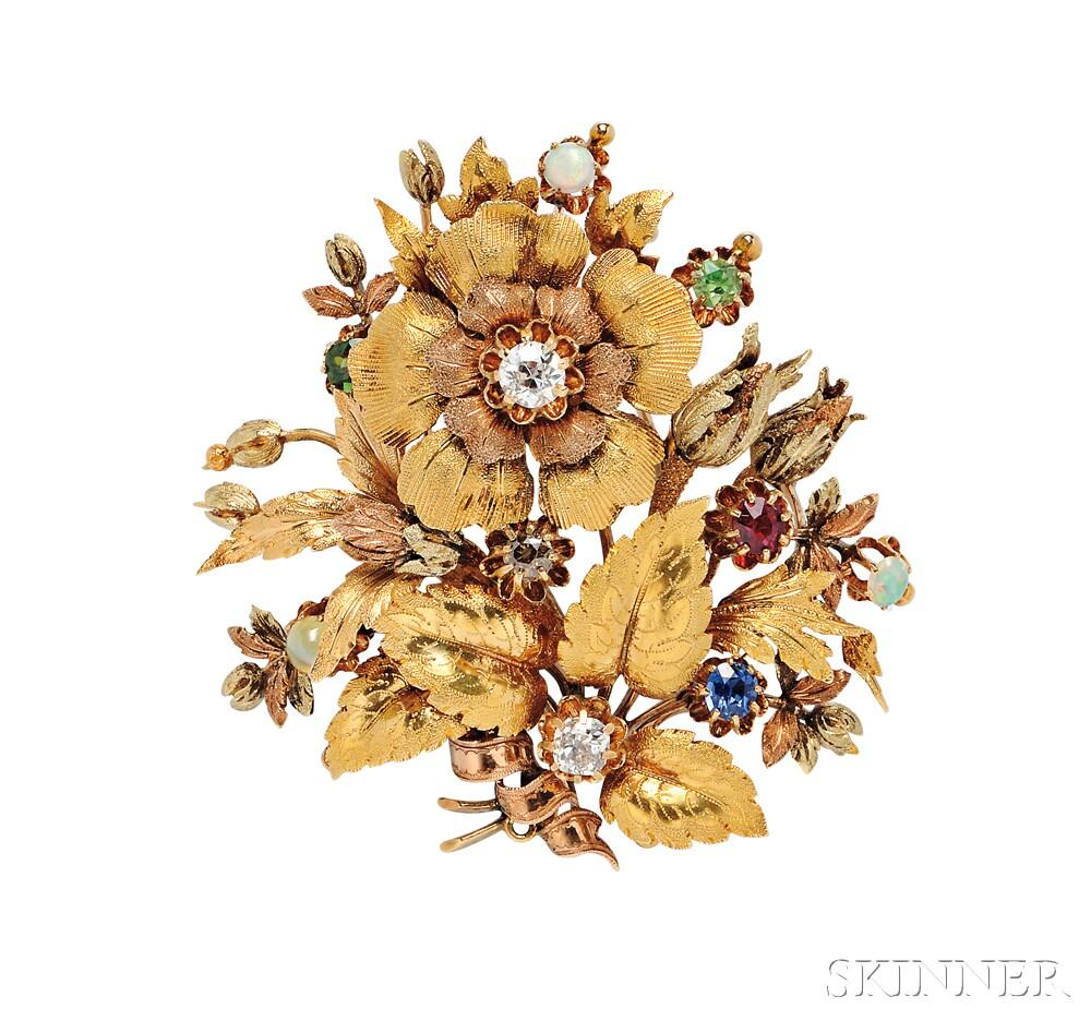 Gold Gem-set Brooch