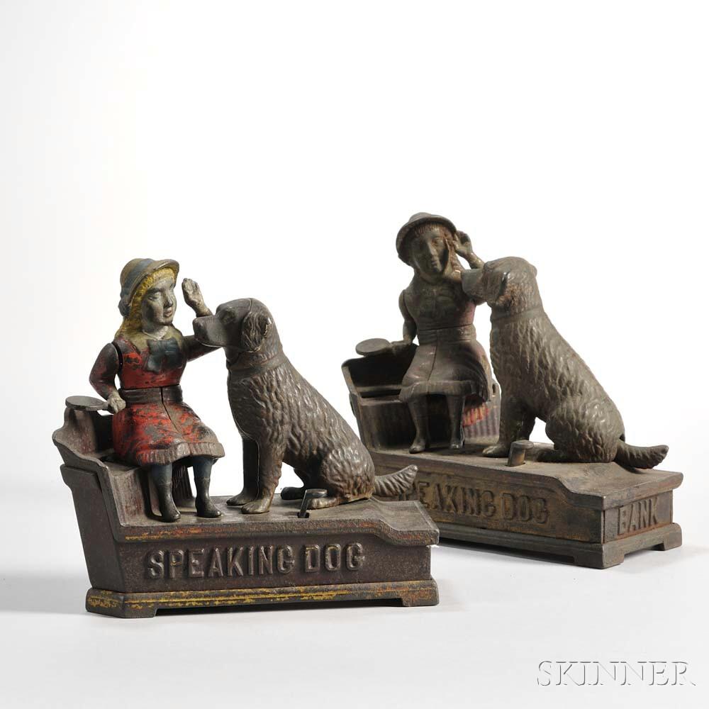"""Two J. & E. Stevens """"Speaking Dog"""" Mechanical Banks"""