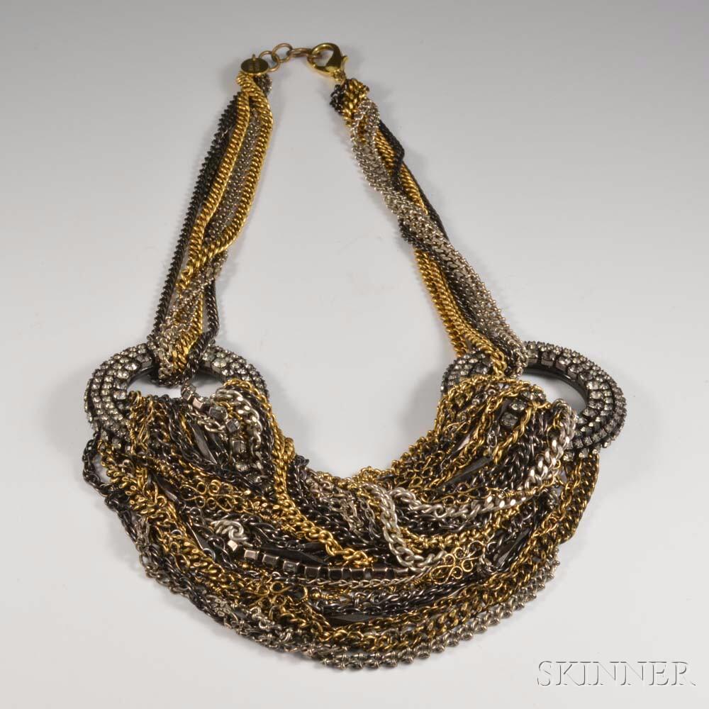 Erickson Beamon Multi-strand Chain and Rhinestone Necklace