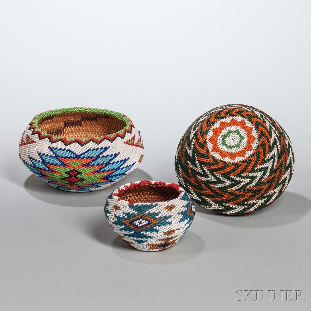 Three Paiute Beaded Baskets