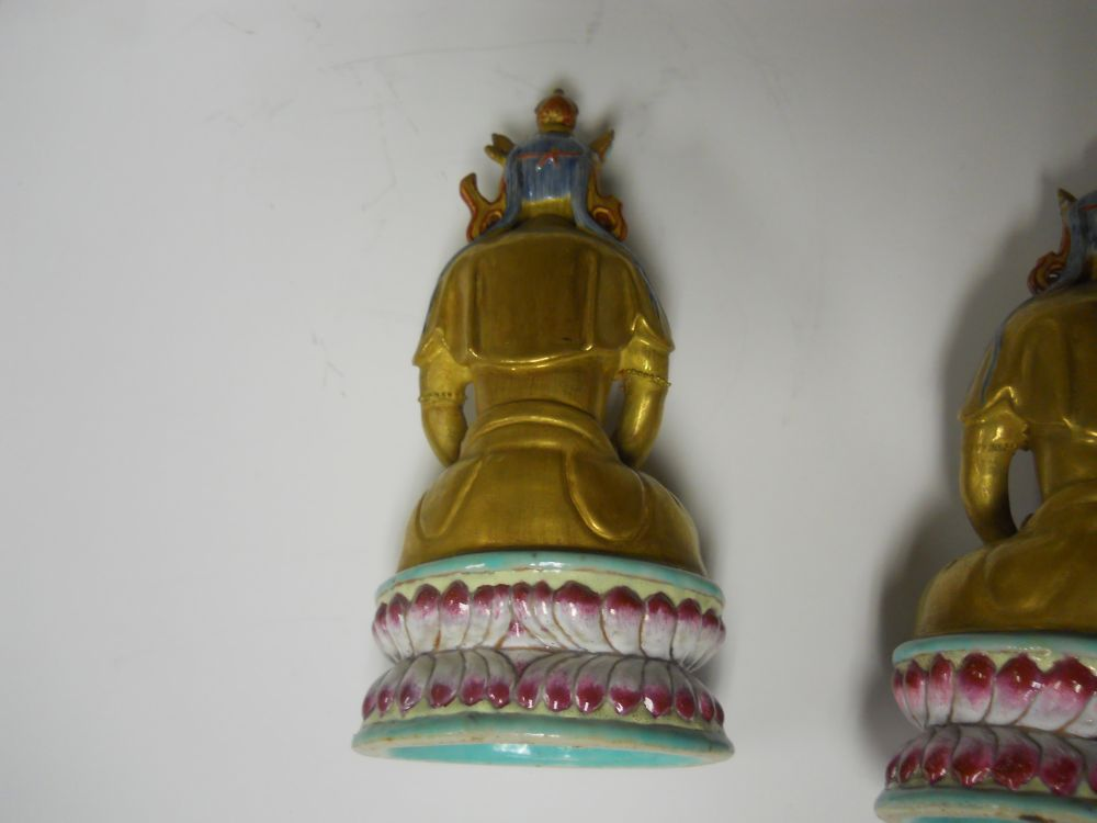 Pair of Famille Rose and Gilt Enameled Bodhisattvas
