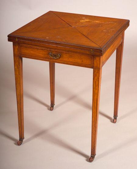 Edwardian Fruitwood Inlaid Satinwood Handkerchief Table