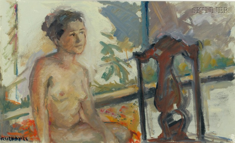 Miriam Ruchames (American, 20th/21st Century)      Nude Seated by a Window