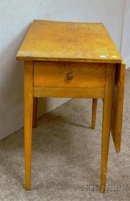 Country Maple Single Drop-leaf Table with End Drawer.