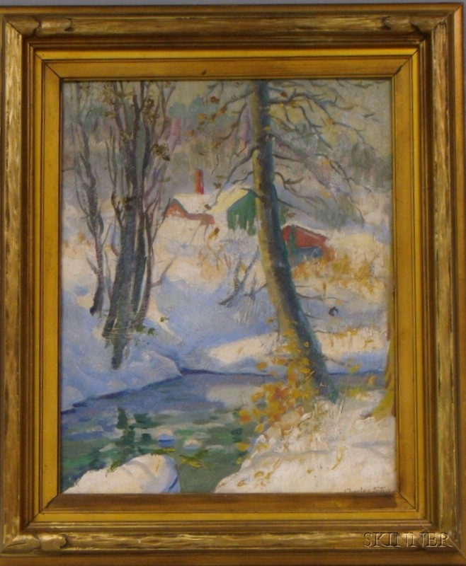 Framed 20th Century American School Oil on Masonite Winter Landscape with House