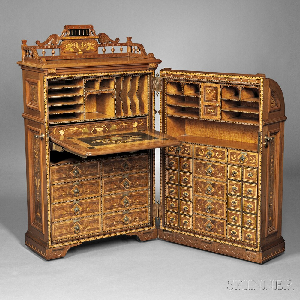 Joseph Moore Renaissance Revival Marquetry Inlaid Walnut Office Queen Cabinet  Secretary
