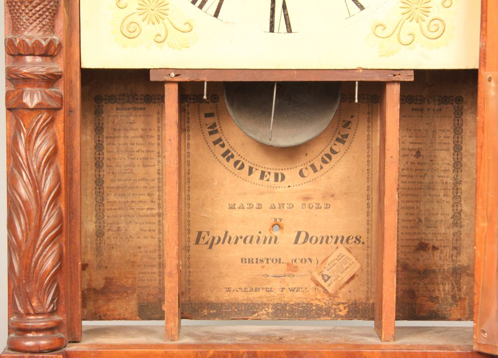 Ephraim Downes Carved Transitional Shelf Clock