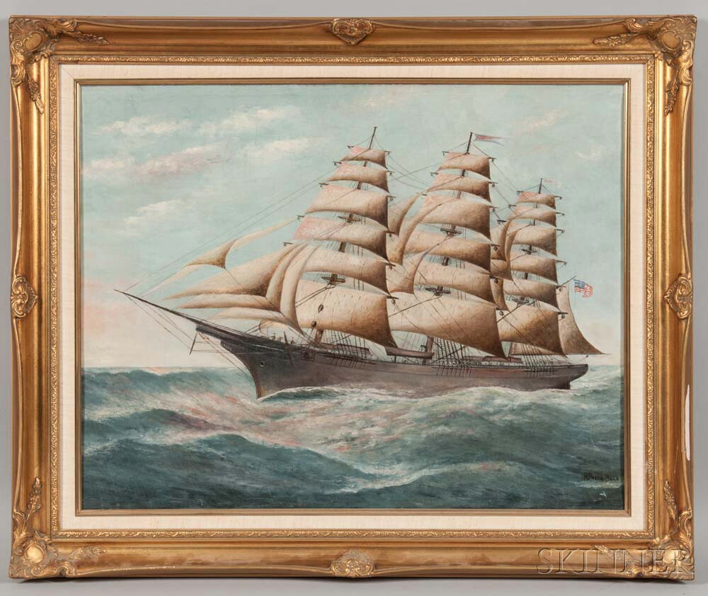 American School, 19th Century       Portrait of a Vessel, Reportedly the Servia  , of Bath, Maine
