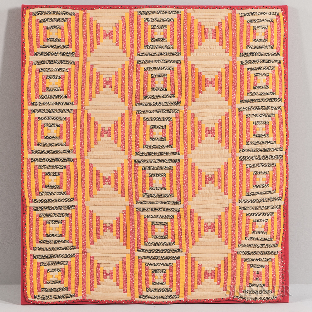 Log Cabin Pattern Crib Quilt